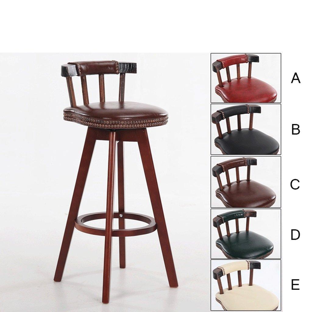Bar chair CWT Retro Style Swivel High Chair, Bar Lounge, Home Decor Bar Stools, Deep Wood Color Stool Legs (Size : H80CM)