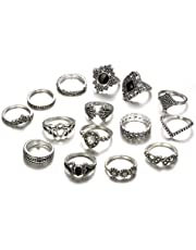 ZhaoGe 15 Pcs Vintage Flower Knuckle Ring Set Bohemian Retro Black Rhinestone Joint Knuckle Nail Midi Ring Finger Rings Set