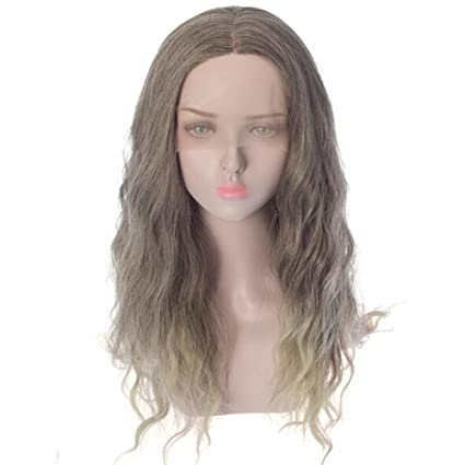 ASDF JL Peluca Ondulada para Mujer Gris Frente De Encaje Long Natural Pelo De Fibra Sintética