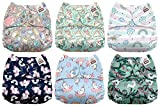 #1: Mama Koala One Size Baby Washable Reusable Pocket Cloth Diapers, 6 Pack with 6 One Size Microfiber Inserts (Unicorn Dreams)