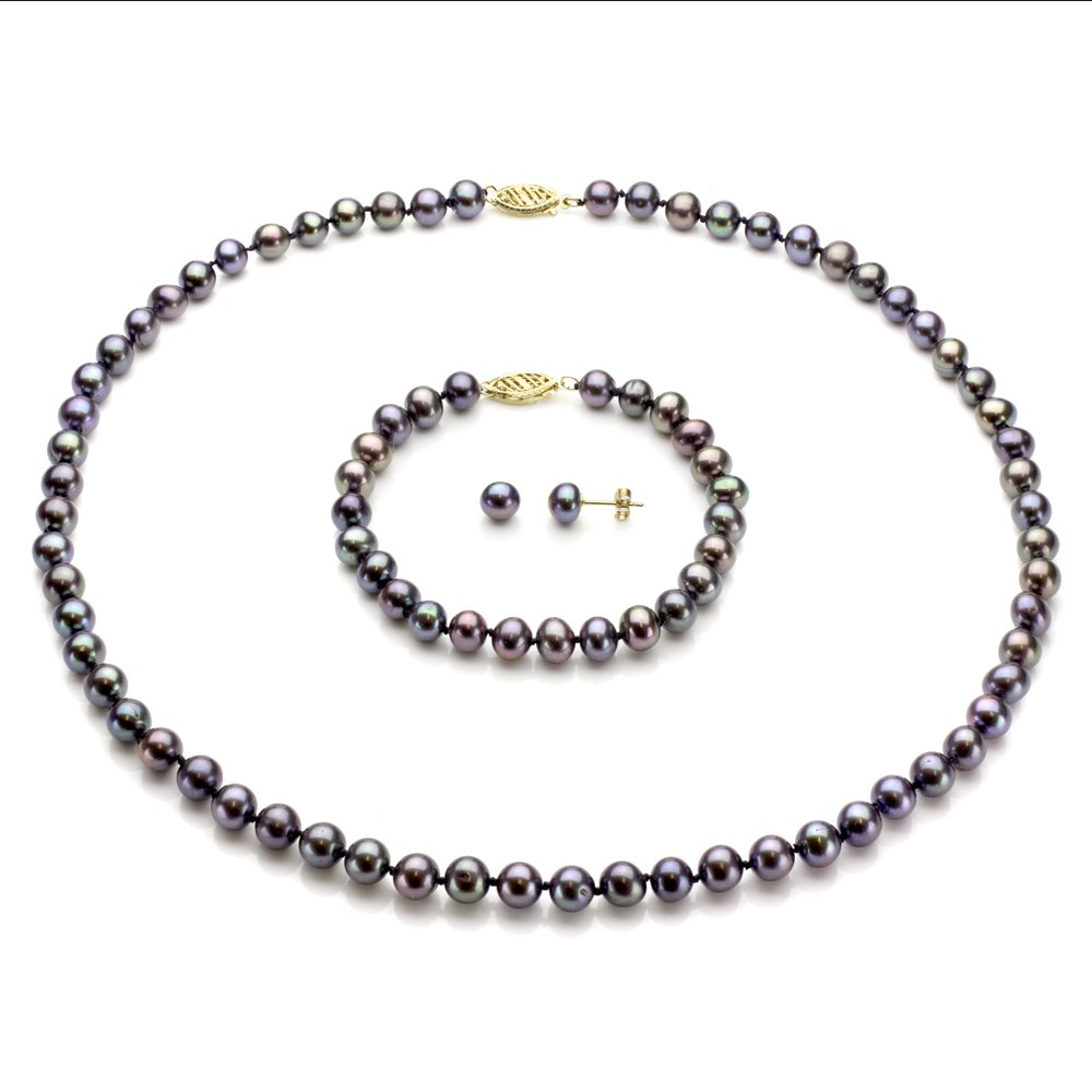 14k Yellow Gold 6-6.5mm Dyed-black Freshwater Cultured Pearl Necklace, Bracelet and Stud Earrings
