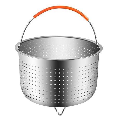 Cestillo de Acero Inoxidable para una Cocina al Vapor - Cesta de Vapor para 6 u 8 Cuartos de galón de Olla instantánea a presión de Olla, con manija ...