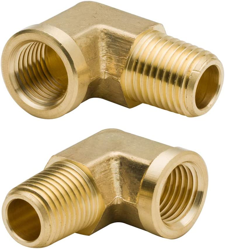 """Legines 90 Degree Brass Street Elbow 3/8"""" NPT Male x 3/8"""" NPT Female Forged Pipe Fitting (Pack of 2)"""