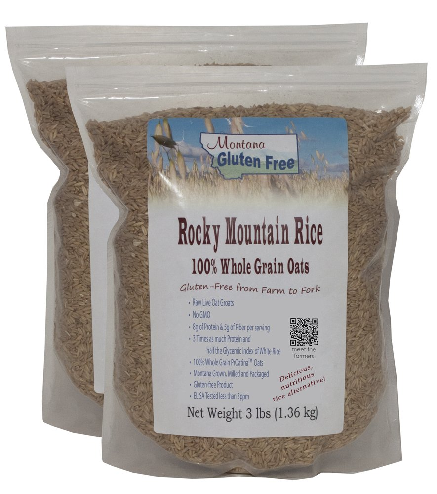 Rocky Mountain Rice ~ 100% Raw Oat Groats ~Gluten Free Rice Alternative 2 Pack of 3 Pound Bags