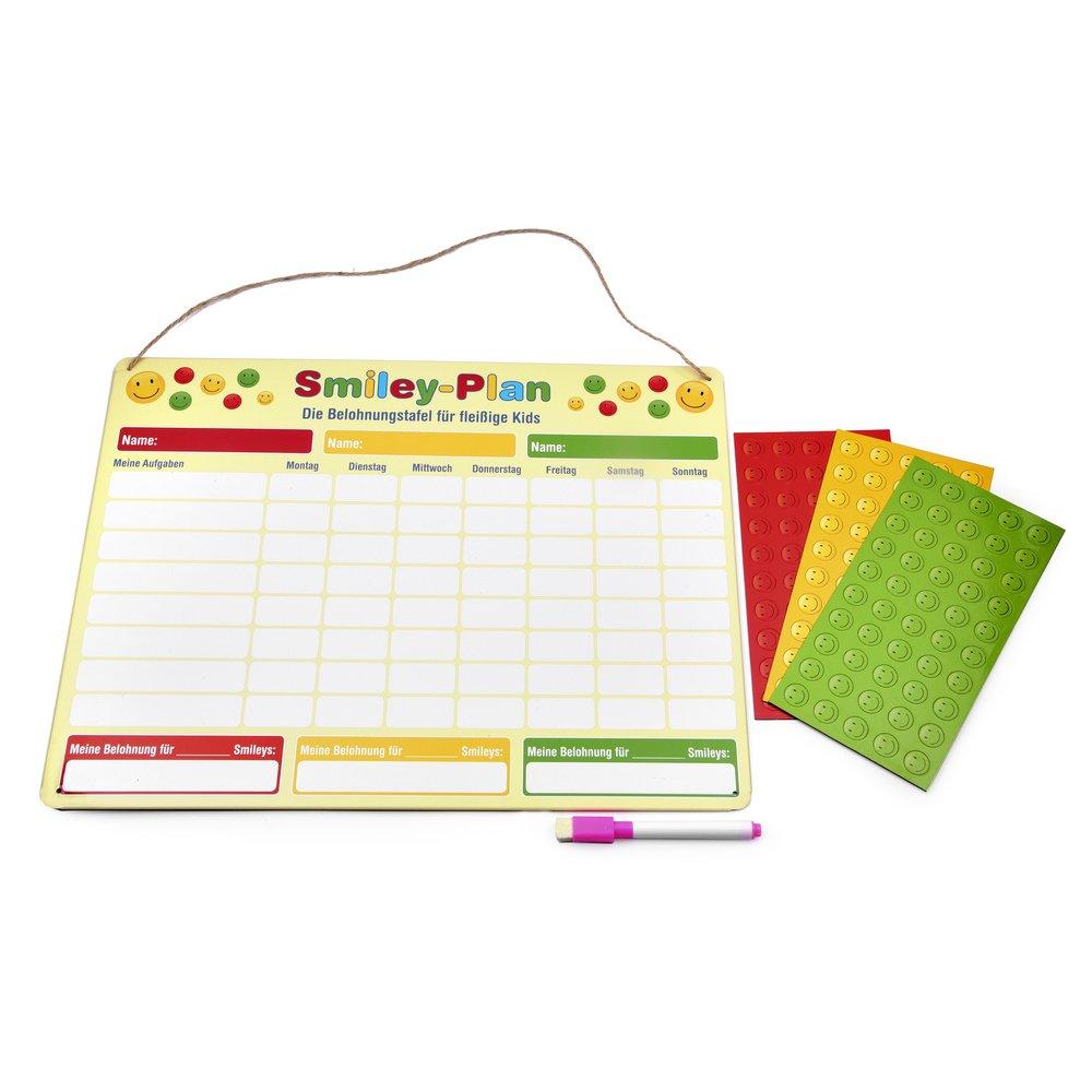 EAST-WEST Trading GmbH Smiley Belohnungstafel, magnetisch / Belohnungstafel mit Smiley-Magneten für bis zu DREI Kinder, 40 x 30 cm