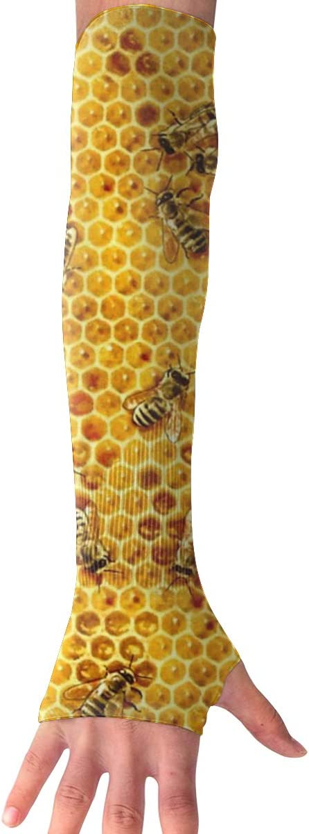 Game Life Honey Bees On A Honey Combs UV Sun Protective Outdoors Stretchy Cool Arm Sleeves Warmer Long Fashion Sleeve Glove