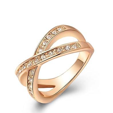 2018 Anillo para mujer, diseño clásico de boda, brillantes, color oro rosa,