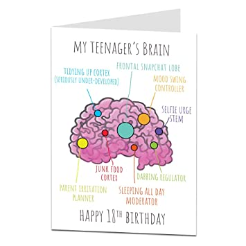 18th Birthday Card FunnyquotTeenagers Brainquot Perfect For Son Daughter Niece Nephew