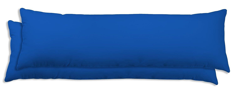 Leonado-Vicenti 2er Pack Seitenschl/äferkissen Bezug 40x145 cm blau Uni Baumwolle