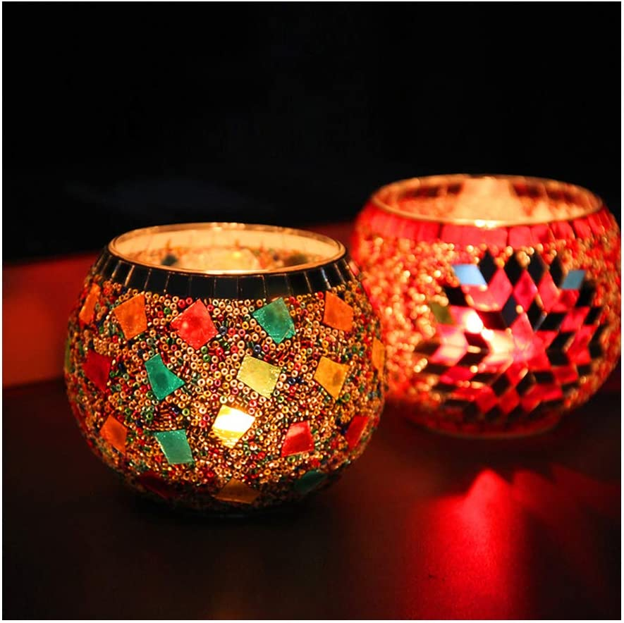 Amazon.com: Glass Votive Candle Holders, 2 Pack Mosaic Tealight Candle Holders for Home Decor/Party/Table/Bathroom, Multifunction Plant Holders Best Gift fot Women: Kitchen & Dining