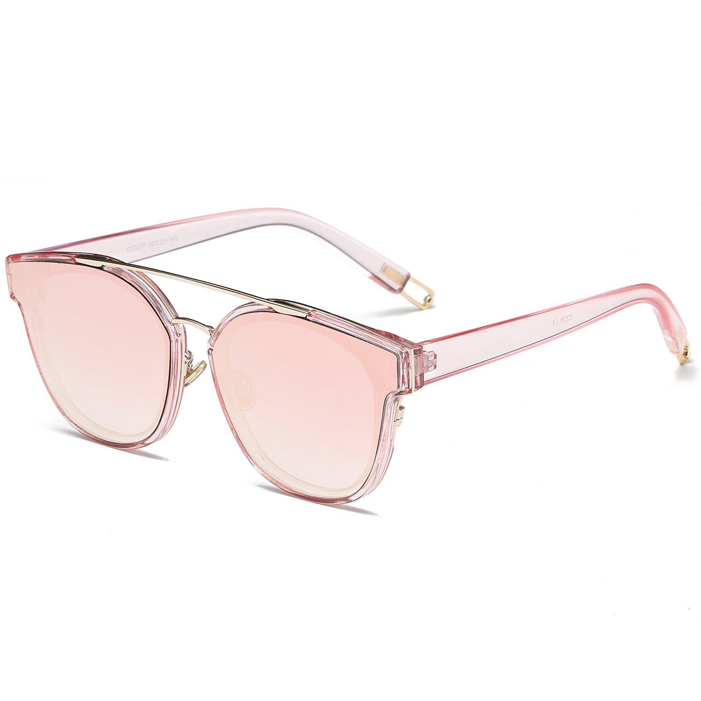 SojoS Schick Klassische Retro Doppelt Metallbrücken Runde Sonnenbrille Damen Herren SJ2038 mit Silber Rahmen/Silber Verspiegelt Linse iApnOI77a