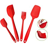 "Silcony Set of 4 Pure Silicone Heat Resistant Spatulas, Spoon, Basting Pastry Brush (11""-8.4"") Perfect for Baking, Mixing, Flipping, Stirring, Battering, Marinating, Decorating Food & Much More..."