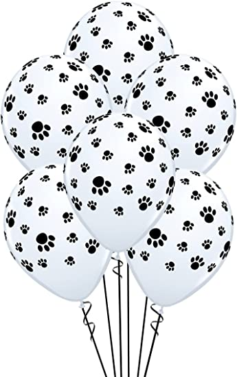 Qualatex Paw Prints-A-Round Biodegradable Latex Balloons, White with Black paw prints All-Around, 11-Inch (12-Units)