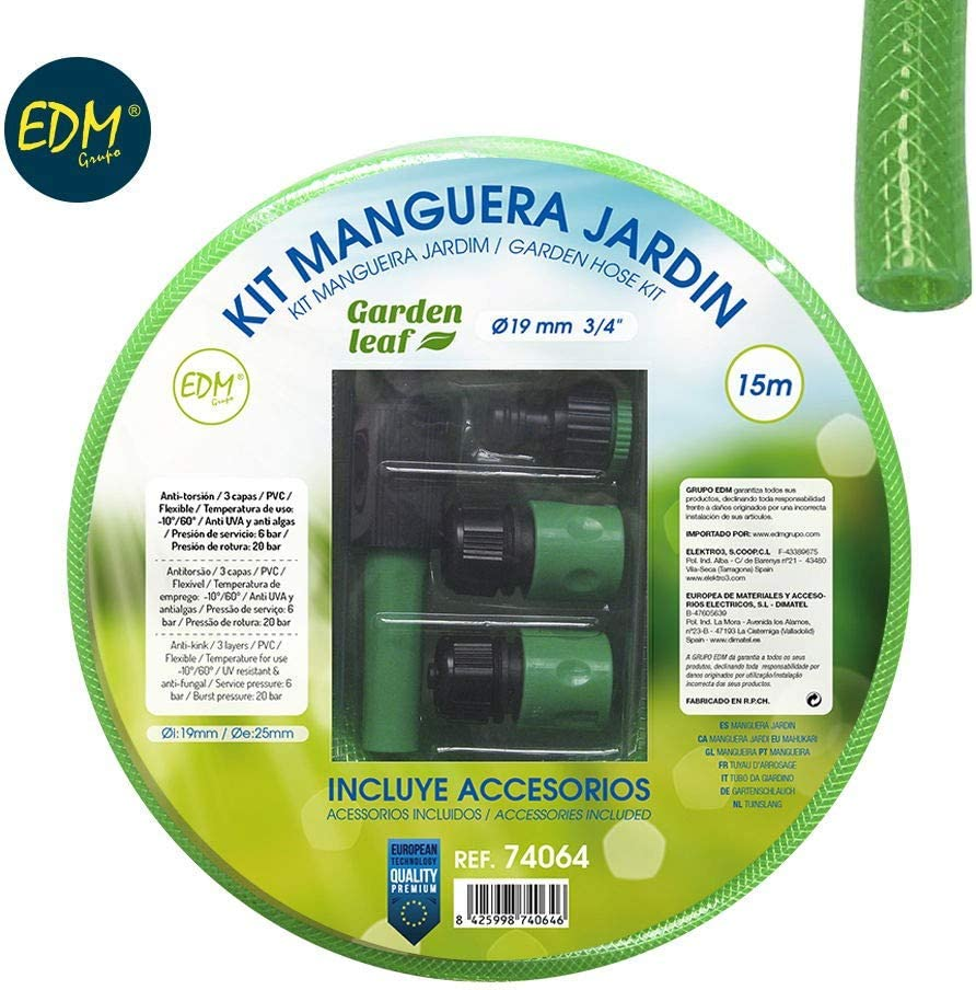 MANGUERA LATEX REFORZADA KIT 19 MM 5/8 (15 M.: Amazon.es: Jardín