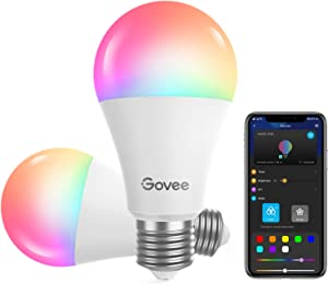 Govee Smart Light Bulbs, Dimmable RGBWW 9W LED Color Changing Bulbs 60W Equivalent, Work with Alexa& Google Assistant, No Hub Required, A19 Decorative Lighting Bulbs for Bedroom Living Room(2 Pack)