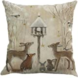 """Christmas Pillow Covers,FUNIC Christmas Printing Dyeing Sofa Bed Home Decor Pillow Cover Cushion Covers Square 18""""x18"""" (B)"""