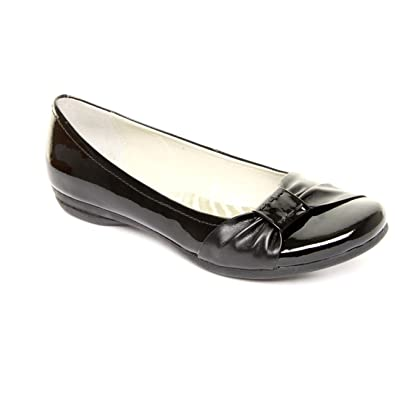 9837a7250b123 Clarks Ladies Wide Fit Discovery Bay Black Patent Ballerina Shoes Size 3