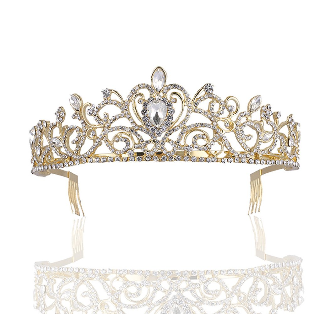 Sppry Women Tiara with Comb - Gorgeous Crystal Crown for Bridal Princess Girls in Wedding Party (Gold)