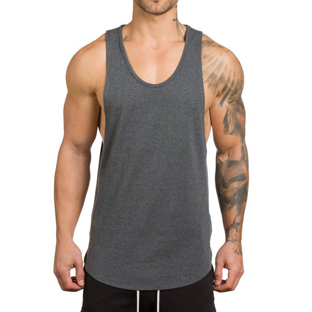 8093edbff92fd Magiftbox Men s Muscle Gym Workout Stringer Tank Tops Bodybuilding Fitness T -Shirts T01 Dark-Gray US