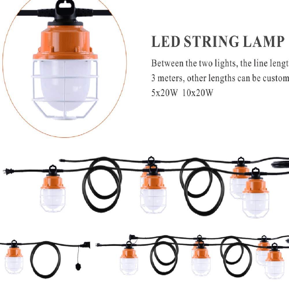 Sonmer 100W 5LED Temporary Construction Hanging Work String Lamp, Fixture 5700K Daylight 10400Lm by Sonmer (Image #8)