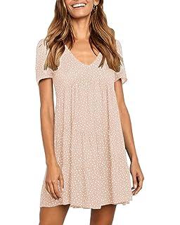 5a83199a Beautife Womens V Neck Polka Dot Babydoll Casual Loose Summer Short Mini T-Shirt  Dress