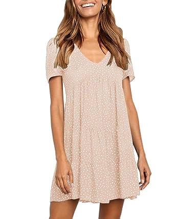 6bfc4b85aef Beautife Womens V Neck Polka Dot Babydoll Casual Loose Summer Short Mini T-Shirt  Dress at Amazon Women s Clothing store