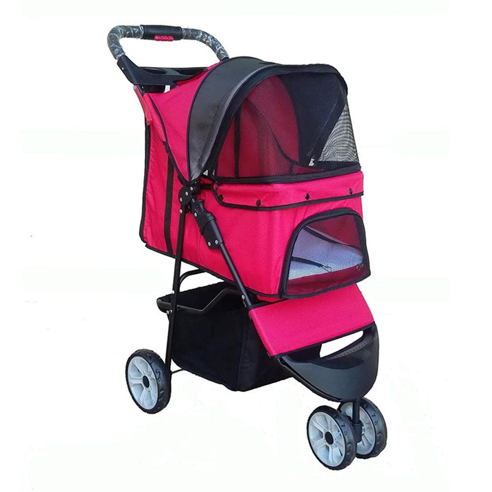 Red Pet Stroller Portable Three Wheel Pet Stroller for Cat Dog More Easy Foldable Carrier Strolling Car One-Handed Trolley,Red,Red