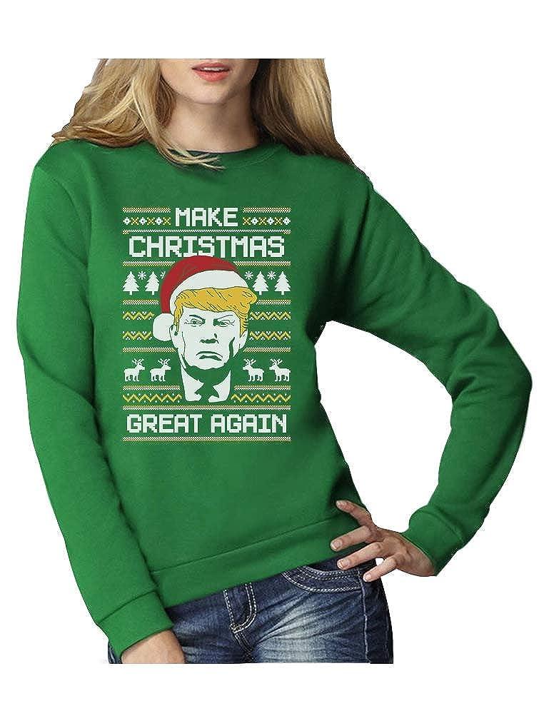 Green Turtle T-Shirts Make Christmas Great Again Trump Damen Ugly Christmas Sweater Damen Sweatshirt
