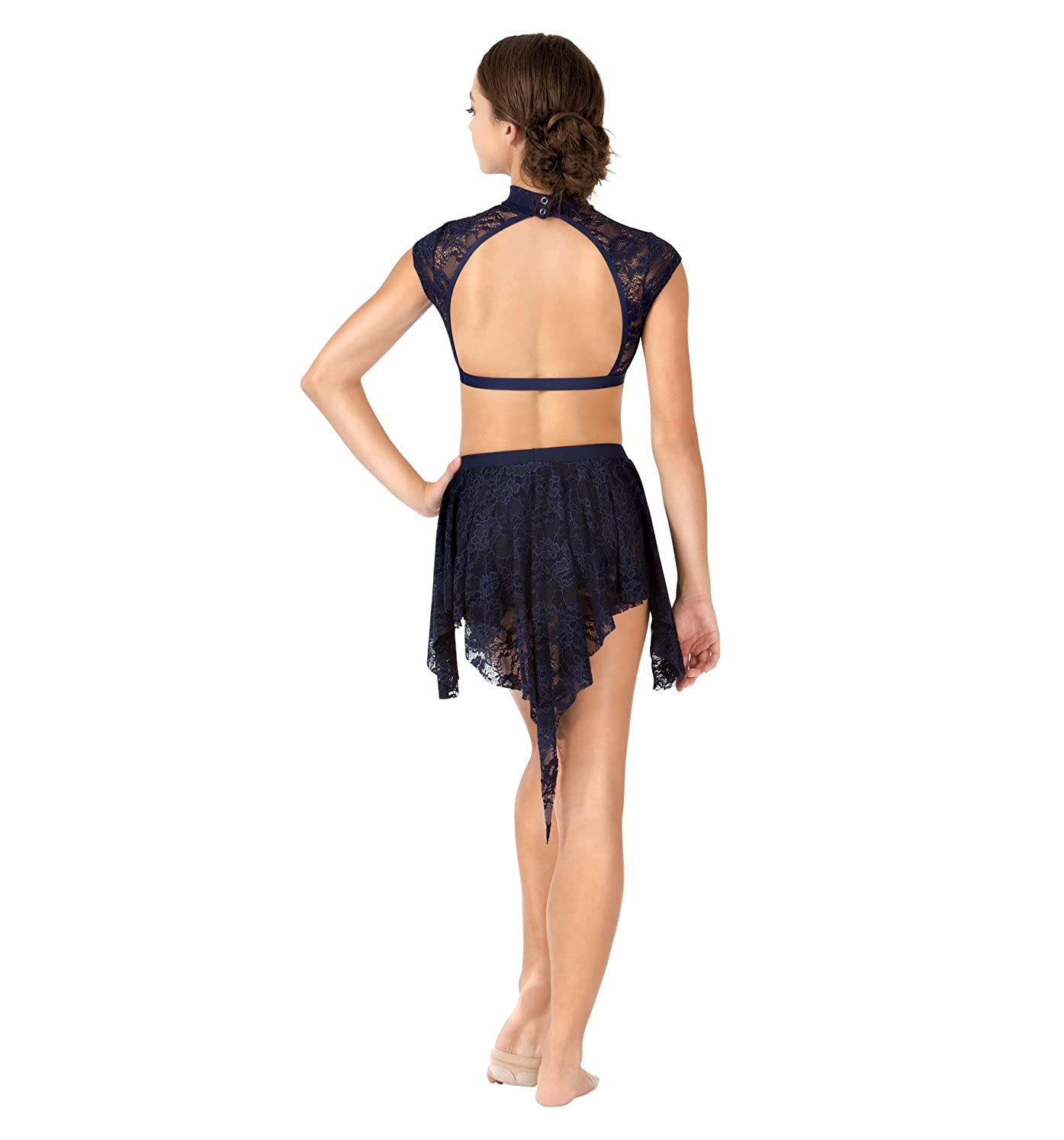 Body Wrappers Womens Uneven Hem Drapey Lace Dance Skirt LC9109