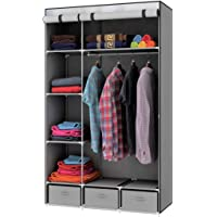 Wardrobe Clothes Assembled Closet Organizer Waterproof Dresser Durable Storage with Shelves and 3 Drawers- Metropolis