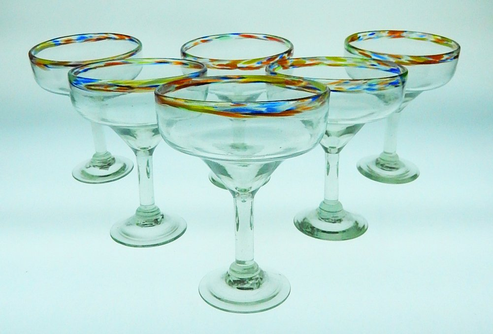 Mexican Glass Margarita Confetti Rim Set of 6