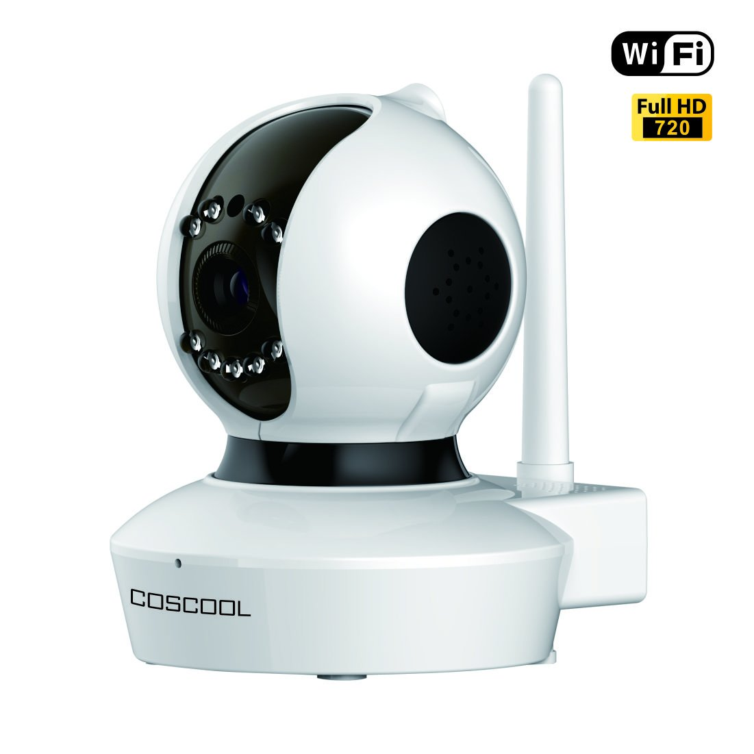 CosCool IP Camera 720P Wireless Wifi Surveillance Camera Network Security Webcam Microphone Inside Two Way Audio Onekey Wifi Fast Setting Night Vision ONIVF Pan Tilt Movement Baby Pet Video Monitor