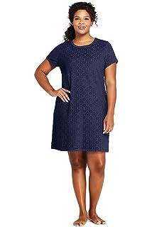 8e87774da6 Lands' End Women's Plus Size Jacquard Terry T-Shirt Dress Swim Cover-up