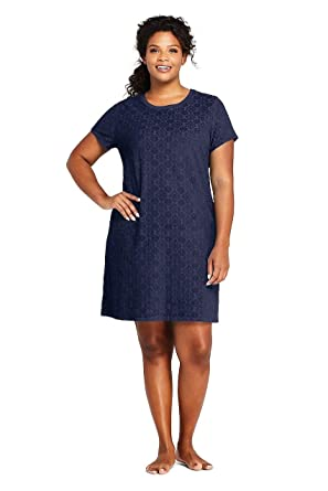 06563eb59a6 Lands' End Women's Plus Size Jacquard Terry T-Shirt Dress Swim Cover-up at  Amazon Women's Clothing store: