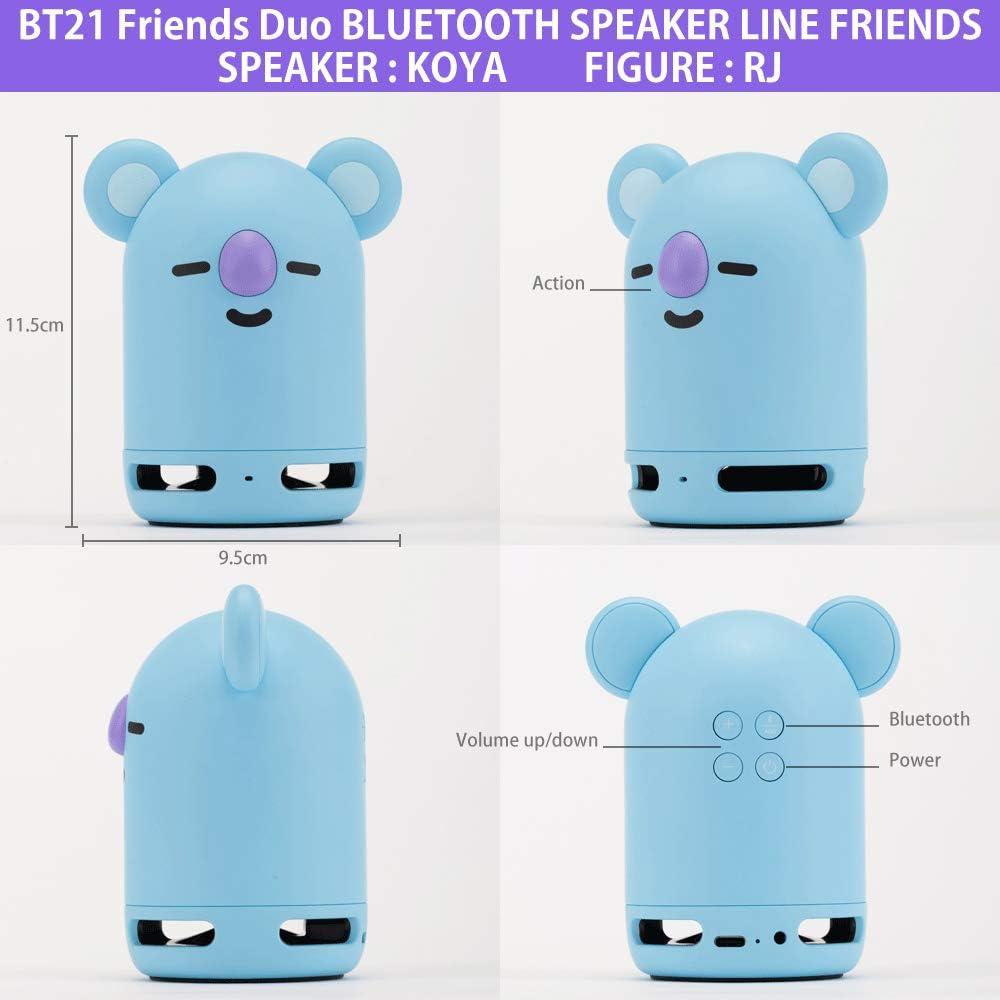 Travel Outdoors Speaker Van + Figure TATA BT21 Official BTS Friends Duo Bluetooth Stereo Portable Speaker /& Figure Set for Home