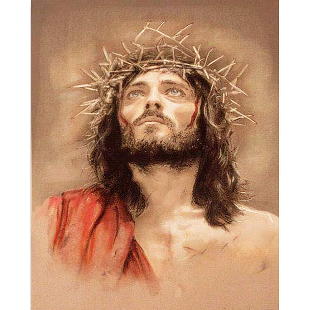 Lovewe Easter Jesus Painting, Christian Religion Embroidery Paintings Rhinestone Pasted DIY Diamond Painting Cross Stitch (D)