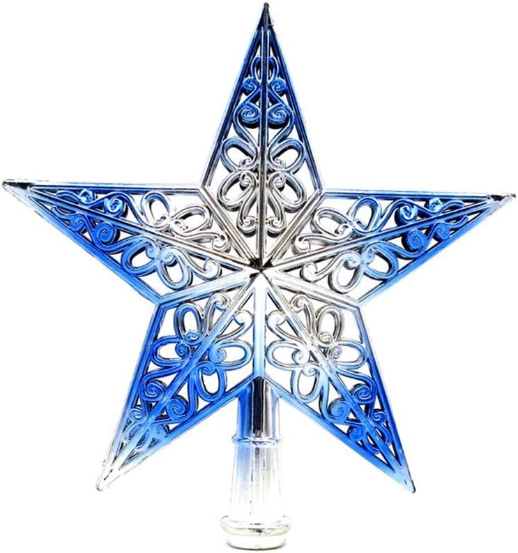 Soochat Christmas Tree Star Topper Glittered Xmas Tree Topper Hollowed-Out Christmas Star Decoration Ornaments Home Decor (Silvery Blue)