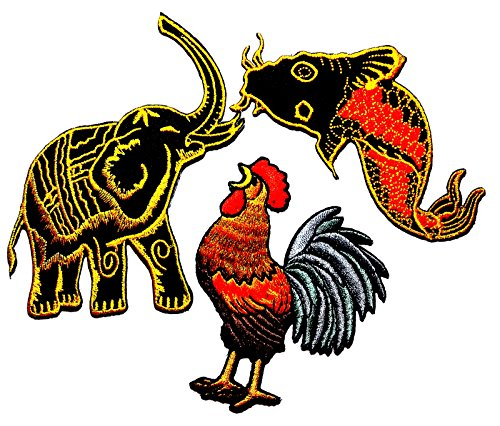 (PP patch Set 3 Blue Elephant Safari Animal, Japanese koi carp fish tattoo Japan , Rooster cockerel cock chicken farm DIY Applique Embroidery Iron on)