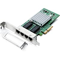 H!Fiber.com Gigabit PCIE Network Card for Intel Intel I350-T4 - I350 Chip,with Quad RJ45 Ports,1Gbit PCI Express Ethernet LAN Card(NIC) for Windows Server, Win7, 8, 10, XP and Linux