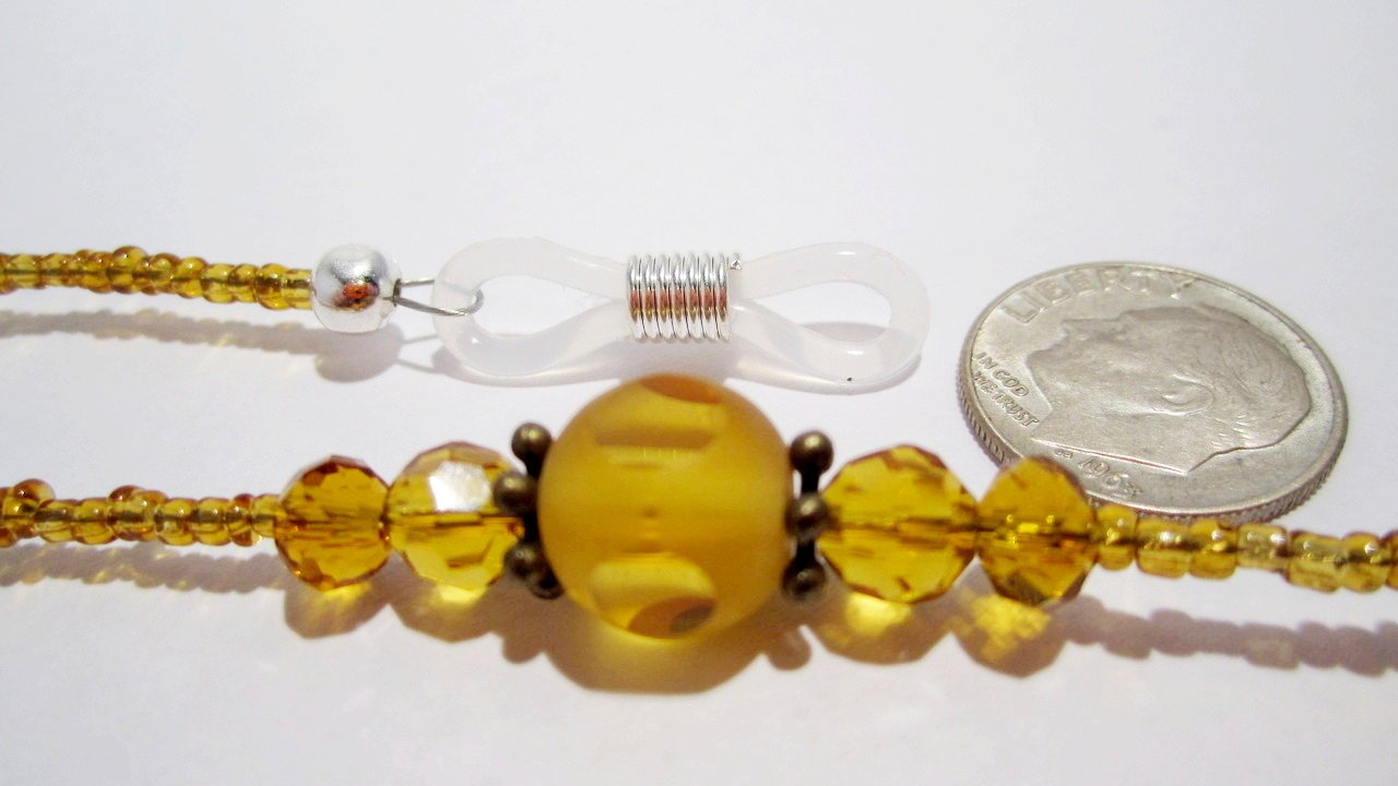 ATLanyards Amber Dots Beaded Eyeglass Chain - Glass Beaded Eyeglass Holder