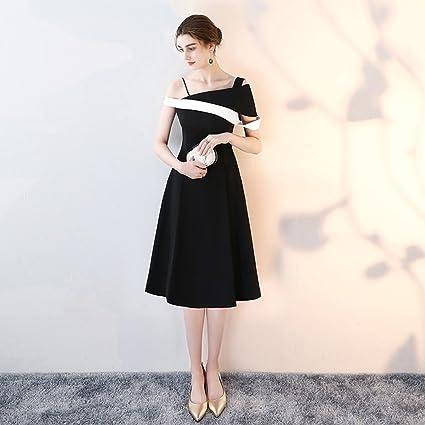 Vestido de noche Banquete Fiesta De Cumpleaños Mujer Hombro Único Hit-Color Negro Sección Mediana