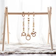 little dove Wood Baby Gym with 3 Wooden Baby Teething Toys Foldable Baby Play Gym Frame Activity Gym Hanging Bar Newborn Gift Baby Girl and Boy Gym