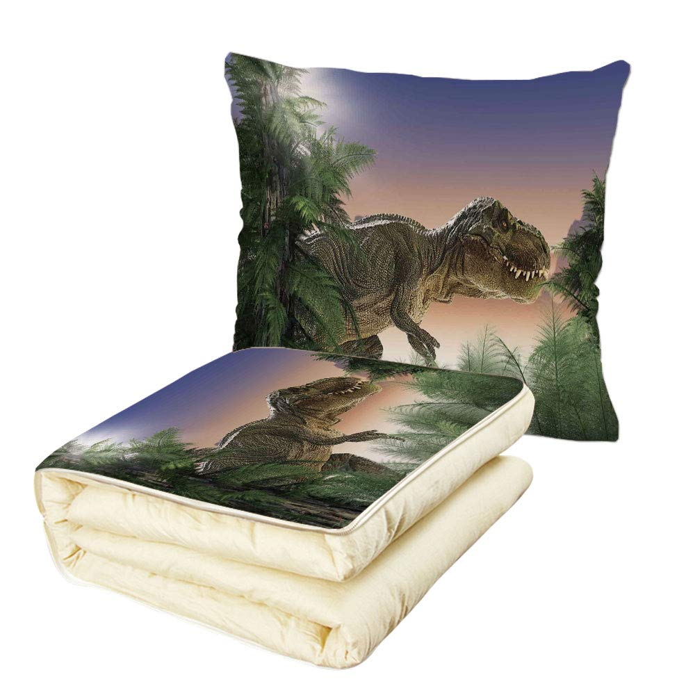 iPrint Quilt Dual-Use Pillow Jurassic Decor Dinosaur in The Jungle Trees Forest Nature Woods Scary Predator Violence Multifunctional Air-Conditioning Quilt