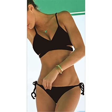 b45ca39ff06fa Image Unavailable. Image not available for. Color  Black Wrap Bikini Top  Criss Cross Bandage ...