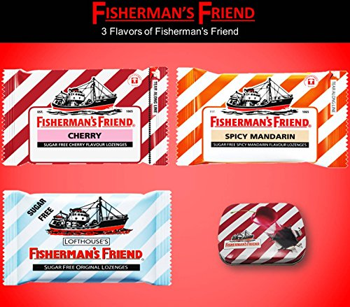 - Fisherman's Friend Lozenges Trio Set (Cherry and Spicy Mandarin and Sugar Free Original Flavors With 1 collectibles Tin boxes) Fresh breath and Extra Strong Cough Suppressant Lozenges