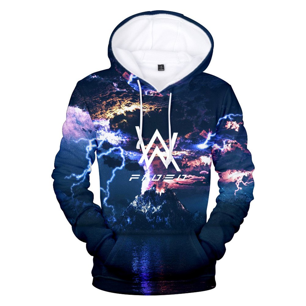 VOSTE Alan Walker Logo Hoodies 3D Printed Hooded Pullover Sweatshirt (Medium, Color 1)