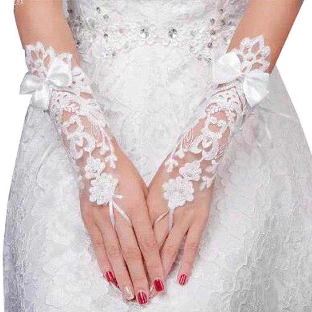 Elegante Dame Formale Bankett Party Braut Durchbohrte Spitze Hochzeit Handschuhe Brauthandschuhe, NO.27 Blancho Bedding