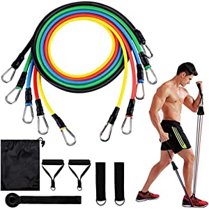 N/ Resistance Bands Set, Exercise Bands with Door Anchor, Handles, Waterproof Carry Bag, Legs Ankle Straps for Resistance Training, Physical Therapy, Home Workouts