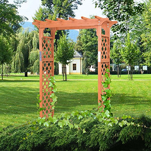 Picotech Wooden Arbor Arch Fir Wood Yellow Outdoor Sturdy Durable Elegant Classic Pergola Style Lattice Climbing Vines Hanging Plants Flowers Balloons Pathway Pool Garden Entrance Patio Easy Assemble Pergola Style Arbor