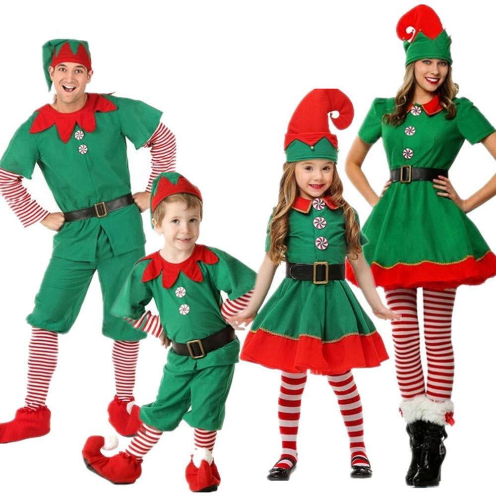 Luoluoluo Natale Costume, Costumi di Natale per Adulti e Bambini Vestito per Elfi di Natale per Bambini
